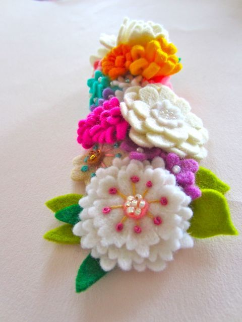 Handmade felt flowers with wonderful detailing