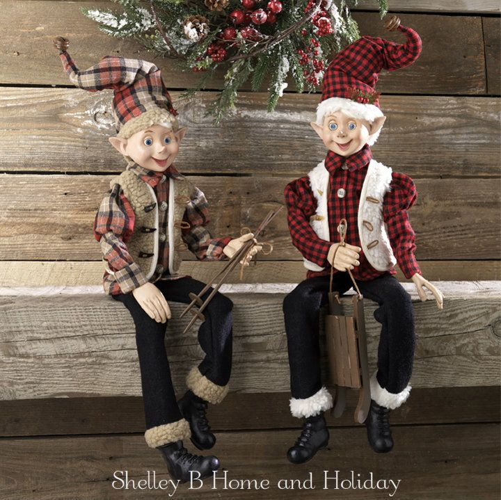 Christmas elf set of 2 RAZ Imports Christmas Cabin