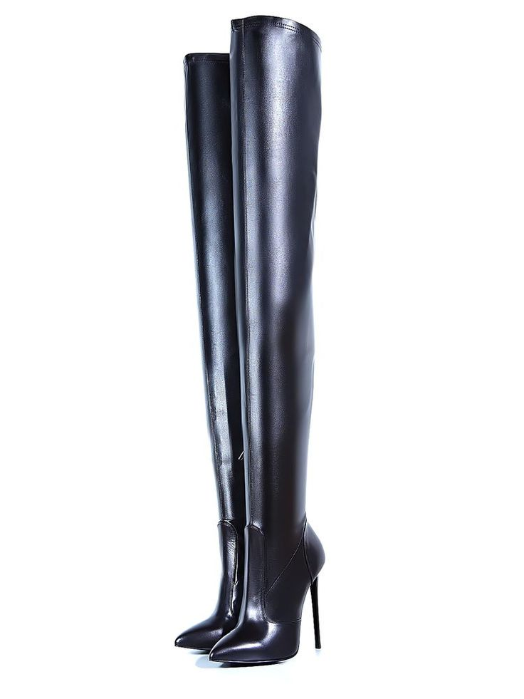 1969 ITALY LEDER HOHE Overknee Lang Stiefel Stretch PY3 Boots High Heels Leather Street Style for Spring!