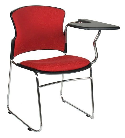 The Focus Stacking Chair Sled with Tablet Arm features a chrome sled base frame and polypropylene shell with a comfortable tulip styled back support #seated #student #chrome #study seated.com.au
