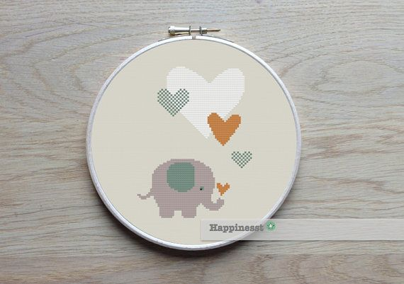 A sweet elephant pattern.  Buy 4 patterns and get 25% discount! Place 4 patterns in your cart and enter the code HAPPINESST3and1free at checkout and