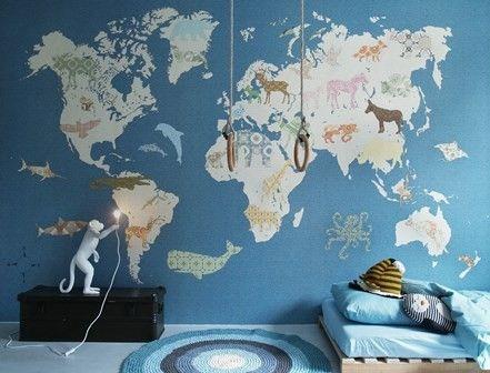 INKE Behang Wallpower Wereldkaart 300 x 300 cm blauw