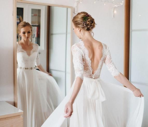 A line wedding dress, A-line style, simple wedding dress, Simple style, romantic…