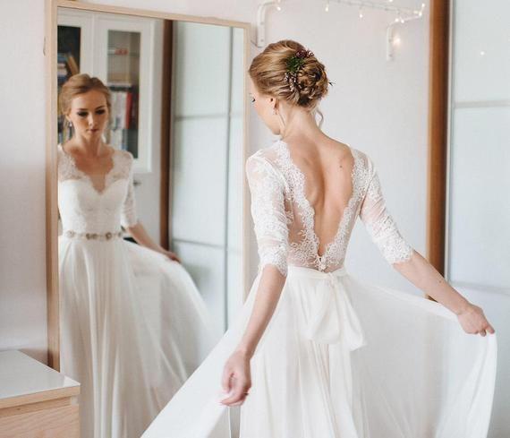 A-Linie Kleid a-Linie Stil schlichtes Brautkleid einfachen Stil romantisches Kle…
