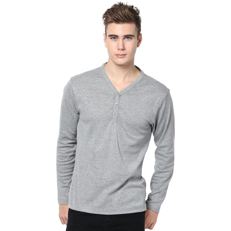 MUDO Solid Grey Melange Henley T-shirt for men