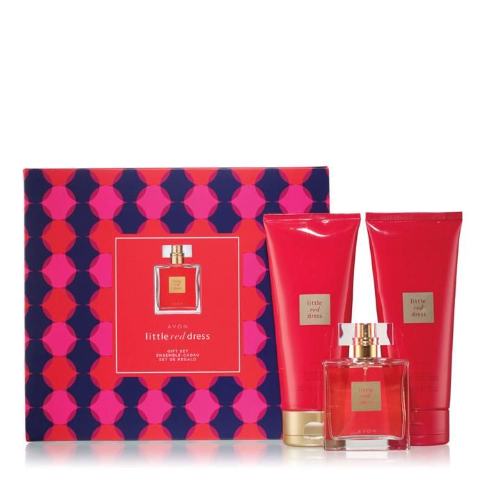 Little Red Dress Gift Set. Avon. The 3-piece Avon Little Red Dress Collection. Stand out in a crowd with sensual red raspberry, sophisticated Bulgarian rose and rich sandalwood. Reg. $45. FREE shipping with any $40 online Avon purchase #Avon #Sale #CJTeam #Fragrance #LittleRedDress #LRD #LittleRedDressGiftSet  #MoreThanMakeupOnline #Avon4me #C22 #HolidayGift #Perfume Shop Avon Fragrance online @ www.TheCJTeam.com