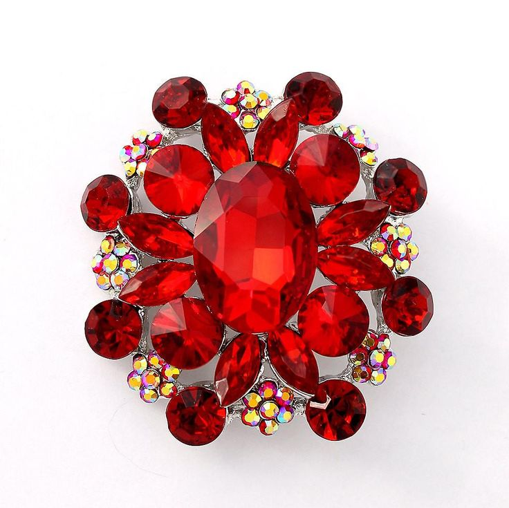 Red Brooch, Large Dark Red Broach, Red Wedding Broaches, Red Bridal Bridesmaid Brooch, Red Cake Brooch, Crystal Red Broaches