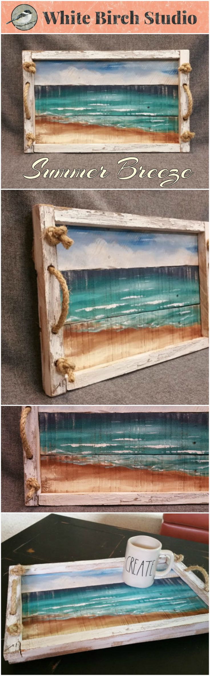 Decorative tray, Beach decor, Barn wood Serving Tray, Summer Breeze table tray, Beach, rope handles, distressed upcycled pallet wood  This unique piece is 19 in x 12 in.   Are you looking for a unique, personal BEACH touch for your summer decorating at home or your cottage? This tray will look great on your coffee table or front porch.
