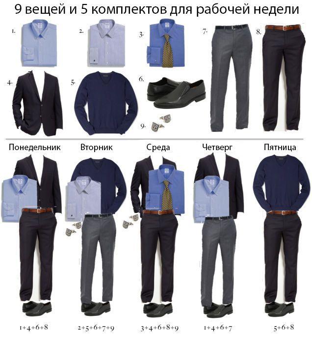 Инфографика для мужчин: 5 готовых комплектов для рабочей недели.
