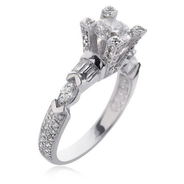 Pre-owned 18K White Gold Natural Round Diamond Designer Ring (€4.655) ❤ liked on Polyvore featuring jewelry, rings, bezel engagement ring, baguette diamond ring, pre owned engagement rings, white gold diamond rings and diamond band ring