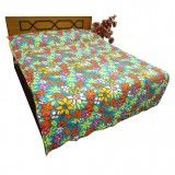 Pure Cotton Quilt Floral Pattern Gudri Twin Size Turquoise Blue Bed Spread