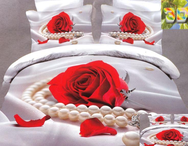 Modne pościele z bawełny w kolorze perłowym z czerwoną różą