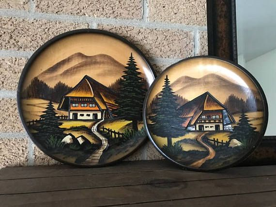 Vintage Wooden Plates Set Of 2 German Black Forest Dust