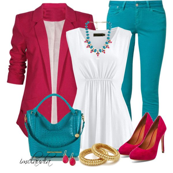 """Fuschia Blazer and Turquoise Jeans"" by imclaudia-1 on Polyvore"