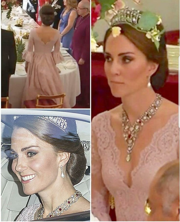 Kate, Duchess of a Cambridge wears blush pink and the Cambridge Lovers Knot Tiara. State banquet for King Felipe and Queen Letizia of Spain, given by HM The Queen at Buckingham Palace.