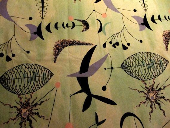 Chris Stone Retro Atomic Barkcloth Fabric Lavender On