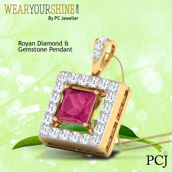 "Get Chic this monsoon with the ultra-stylish ""Royan Diamond and Gemstone Pendant""   #WearYourShine #PCJeweller #Jewellery #IndianJewellery #Love #Diamonds #Gemstones #Ruby #Happiness #Chic #Trend #Fashion"