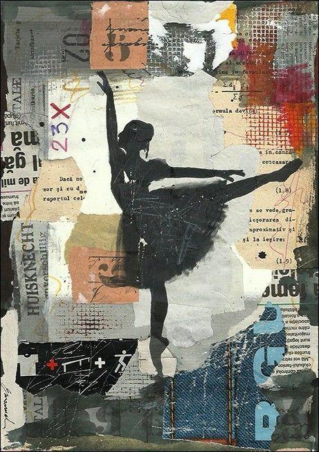 Original Mixed Media Collage Art Ink Drawing Painting Ballerina Modern Abstract