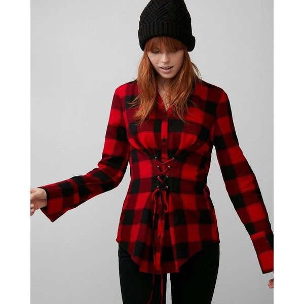 Express Check Flannel Corset Shirt ($70) ❤ liked on Polyvore featuring tops, red, corset tops, long red shirt, red flannel shirt, flannel shirt and long bell sleeve tops