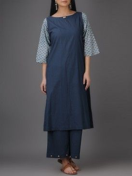 Indigo-Ivory Natural-dyed Bagru-printed Cotton Kurta with Palazzos (Set of 2)