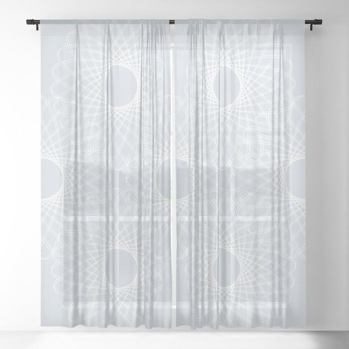 Mathematical Rotating Roses Ice Gray Sheer Curtain By