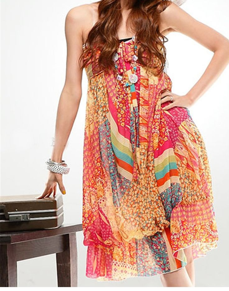 Bohemian Summer Floral Dress - One Size