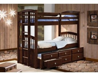 Twin/Twin Angelica Captain's Trundle Bunk Bed Cappuccino