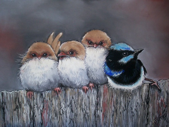 stand your ground; dare to be different (check out his little foot on the right side - love it!) - All in a Row by Sally Ford