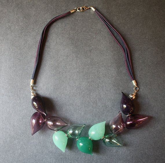 Blown Glass Lightweight Necklace  Green Purple by LikeAGlassShop