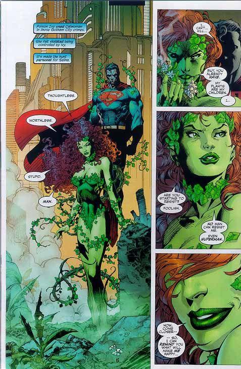 Pamela Isley as Poison Ivy and Kal-El aka Clark Kent as Superman (interior page to Batman Vol. 1 #612)