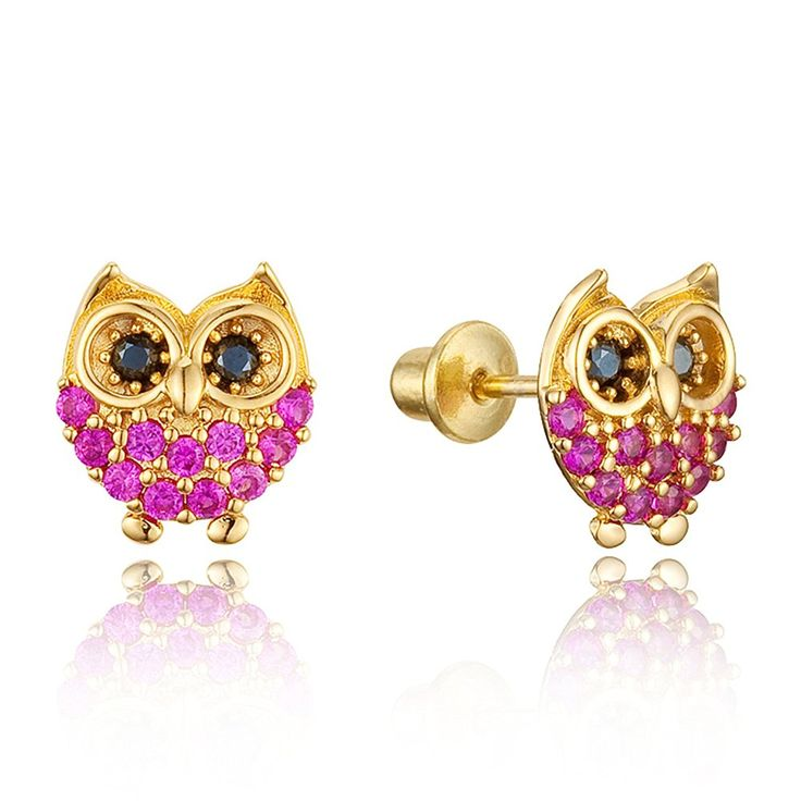 Purple and Black on Gold Plated Small Owl Earrings tcrVpWCh