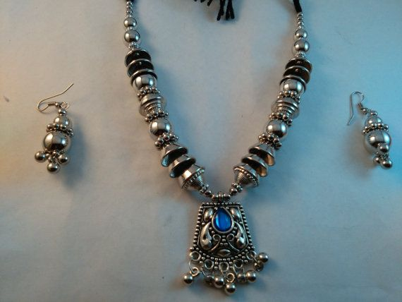 Handmade beautiful Silver Plated Tribal look lapis by akshainie