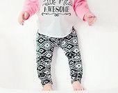 Noir Blanc Ikat ethnique tribal aztèque infantile bébé Jambières enfant Pantalons Fille Garçon pantalon