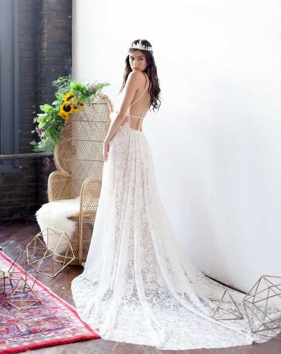 Lace Low Back Wedding Dress