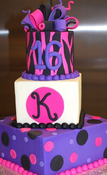 3 tier Sweet 16 birthday cake in pink and purple with bow on top via cakepicturegallery.com