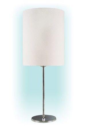Abajur palito redondo com cúpula,  Medidas: Altura: 32cm Cúpula: 20x20x25cm,   Material: Metal e tecido,  Cor: Base cromada com cúpula branca