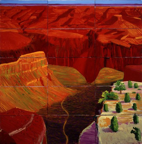 David Hockney 15 Canvas Study of the Grand Canyon, 1998 oil on 15 canvases 66 1/2 x 65 1/2 in (168.91 x 166.37 cm) 73 1/4 x 72 1/2 in (186 x 184.15 cm) (fr) Private collection