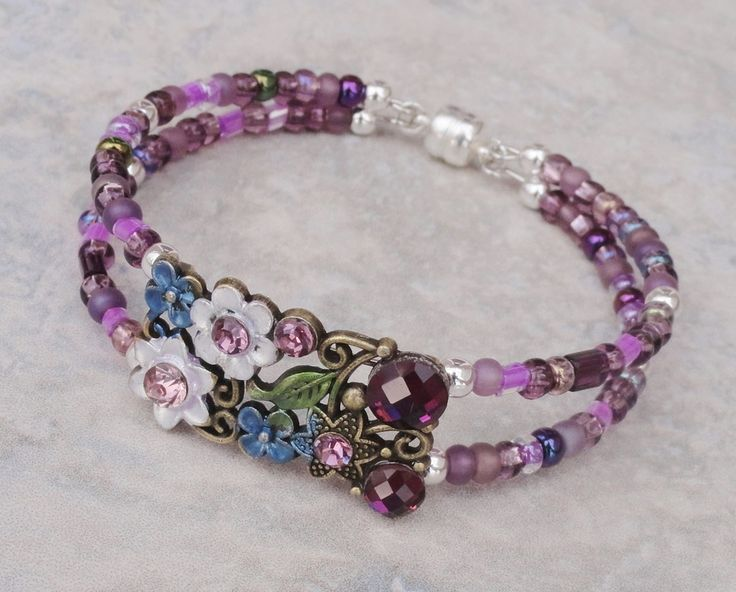 bracelet fairy blossom purple and bronze crystal memory wire with magnetic clasp. Black Bedroom Furniture Sets. Home Design Ideas
