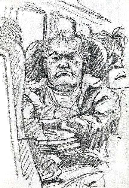 Lynne Chapman - Drawing on the train.  3B pencil.