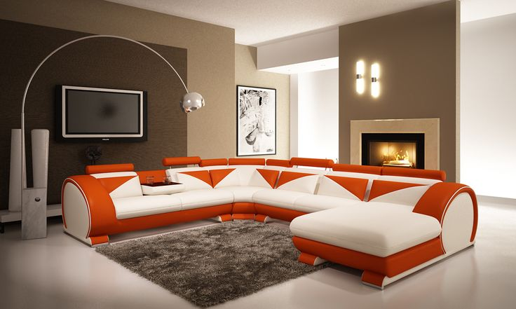 Stylish Design Furniture - Modern White and Orange Leather Sectional Sofa with Headrests, $2,287.50 (http://www.stylishdesignfurniture.com/products/modern-white-and-orange-leather-sectional-sofa-with-headrests.html)
