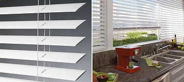 EverWood® Distinctions™ Featuring a best-selling color selection of whites and creams, EverWood® Distinctions™ alternative wood blinds bring a bright, classic look to any high-traffic area.