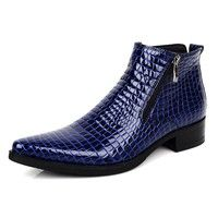 Wish | Blue Black Serpentine Genuine Leather Motorcycle Boots Mens Fashion Ankle Boots Pointed Toe Dress Shoes US Size 37-44
