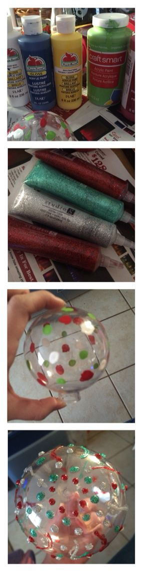 DIY Christmas ornaments. 96 cent clear plastic ornaments from Walmart decorated with acrylic paint and glitter glue.