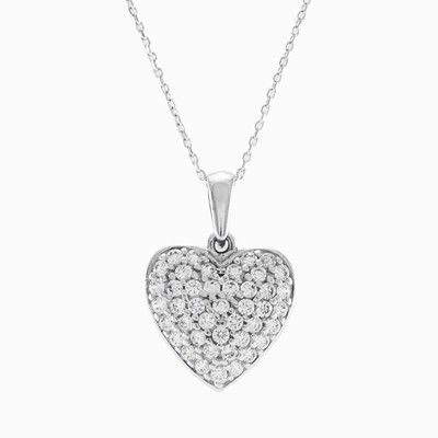 Heart-shaped pendant in 14k white gold, the top part set with crystals, and the lower part of pendant is made from the full gold.