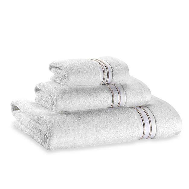 Wamsutta Hotel Micro Cotton Bath Towel In White Tan Cotton Bath