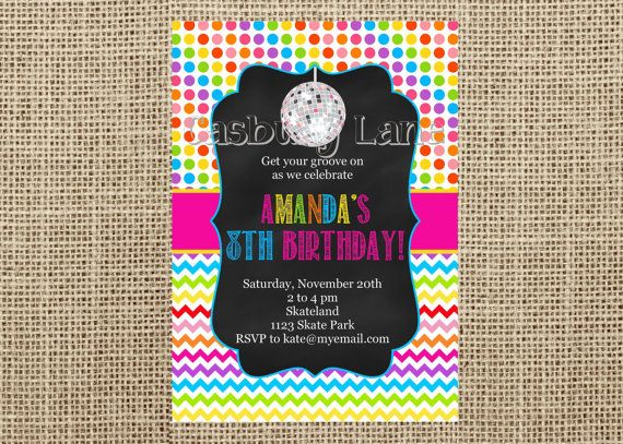 Printable Invitation-NEW Roller Skating Collection-Disco Ball-Glow in the dark-Neon-Casbury Lane