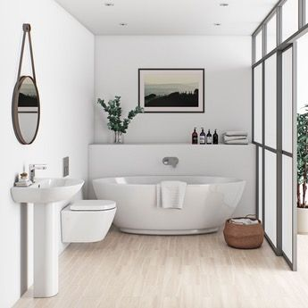 Mode Harrison rimless bathroom suite with freestanding bath