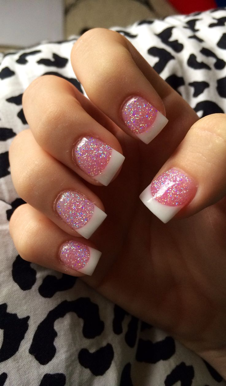 French tip nails with glitter :)
