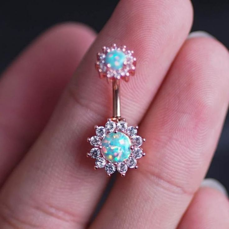 Opal Zircon Flower Belly Ring Belly Button Piercing flower belly rings Navel Piercing  #Piercing #BodyJewelry #BellyRing #PiercingAddict #SeptumRing #SeptumPiercing #BodyArt #PiercedandProud #BodyMods #TragusPiercing