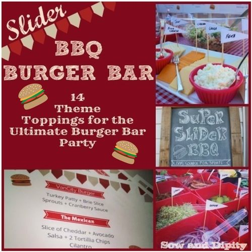 Slider Burger Bar Party, 14 themed toppings!